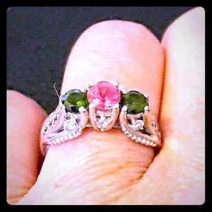 14K Art Deco pink green tourmaline & diamond ring